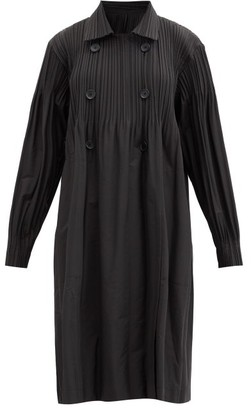 Pleats Please Issey Miyake Double-breasted Technical-pleated Jersey Coat - Black
