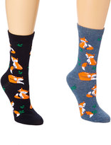 Black & Denim Blue Foxes Two-Pair Socks Set
