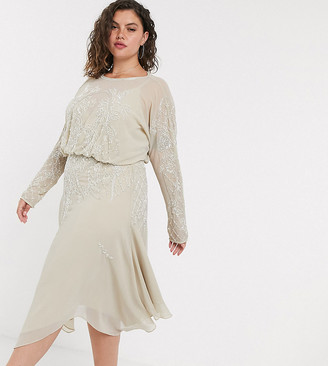 ASOS DESIGN Curve blouson long sleeve midi dress in embellishment
