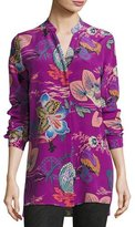 Etro Lily Pad Button-Front Tunic Blouse, Pink