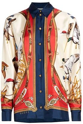 Gucci Wildness Bird-Print Silk Shirt
