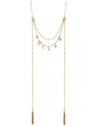 Jon Richard Jewellery Gold Plated Clear Celestial Multi-Row Necklace