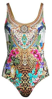 Women`s Floral& Leopard One-Piece Swimsuit
