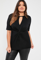 Missguided Plus Size Black Knot Front T-Shirt