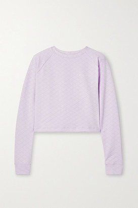 The Upside Faith Cropped Quilted Stretch-jacquard Sweatshirt - Lilac