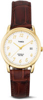 Timex Mens Gold-Tone Brown Leather Strap Watch