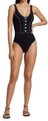 Karla Colletto Swim Lyra Button Front One-Piece Swimsuit