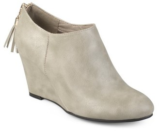 Brinley Co. Women's Faux Leather Tassel Wedge Booties