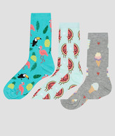 New Look 3 Pack Watermelon And Ice Cream Ankle Socks