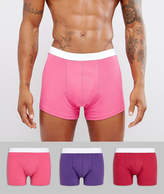Asos Trunks In Hot Pink 3 Pack Save
