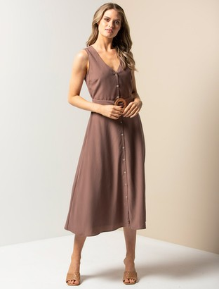 Forever New Mina A-line Belted Midi Dress - Dark Dove - 4