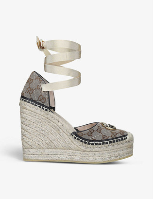 Gucci Pilar canvas esperadrille wedges