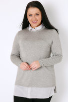 Yours Clothing Grey Marl 2 in 1 Jumper Layered With Stripe Print Shirt Detail