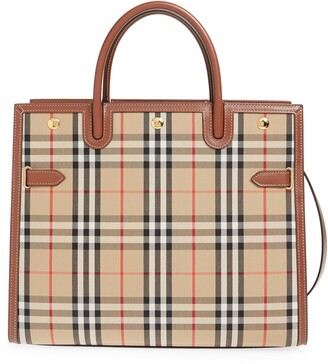 Burberry Large Title Leather & Canvas Bag