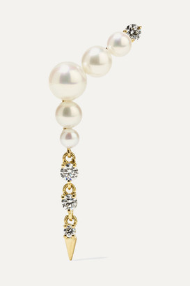 Jemma Wynne 18-karat Gold, Pearl And Diamond Earring