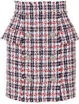 Balmain Frayed Checked Metallic Tweed Mini Skirt - Navy