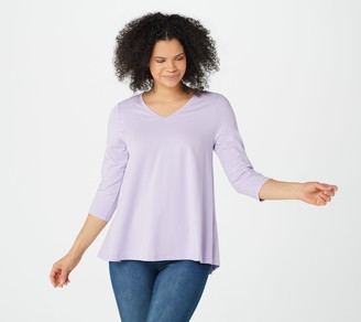 Denim & Co. Essentials Perfect Jersey V-Neck 3/4 Sleeve Top