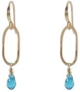 Slim Oval Earrings With Blue Cz