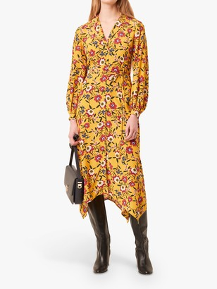 French Connection Eloise Doto Drape Floral Dress, Mustard/Multi