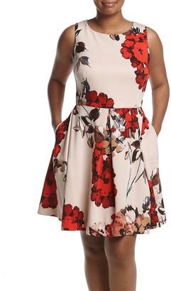 Taylor Dresses Women's Plus Size Bouquet Floral Fit and Flare Scuba Dress
