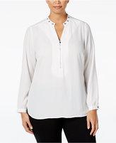 NY Collection Plus Size Grommet-Trim Zip-Front Blouse