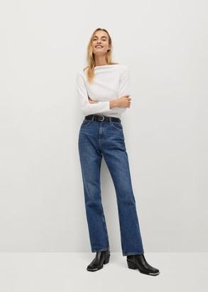 MANGO Long sleeve cotton t-shirt white - XS - Women