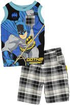 Children's Apparel Network Batman Black & Blue Tank & Plaid Shorts - Toddler & Boys