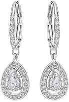 Swarovski Attract Light Pear Pierced Earrings, White, Rhodium plating
