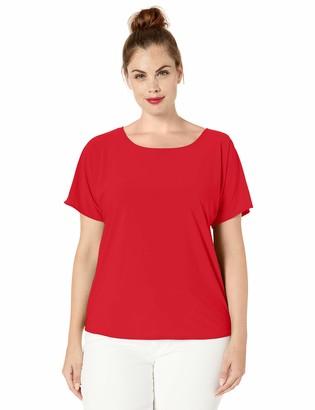 Star Vixen Women's Plus-Size Dolman SLV Hi-Low Hem Easy-Wear Smooth Knit Top