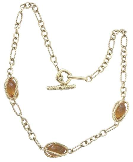David Yurman 18K Yellow Gold & 925 Sterling Silver with Citrine Toggle Necklace