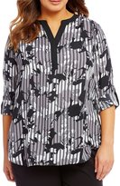 Investments Plus Y-Neck Long Sleeve Roll Tab Blouse