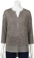 Dana Buchman Women's Marled Splitneck Sweater