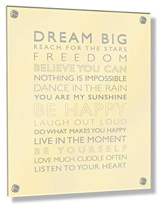 Camilla And Marc Feel Good Art Wall Mounted Acrylic Frame with Stand-Off Bolts (30 x 20 x 0.6 cm, Small, Cream, Be Happy/Nursery Dècor)