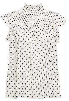 Dorothy Perkins Womens Dp Petite Ivory Spot Print High Neck Top, Ivory