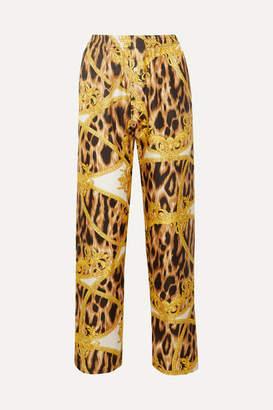 Versace Printed Silk-twill Pajama Pants - Shiny gold