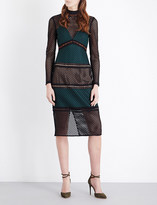 Self-Portrait Forest Fitted mesh midi dress