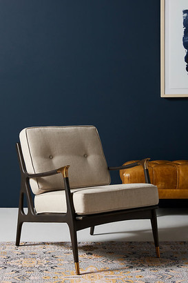 Anthropologie Linen Haverhill Chair By in Grey Size ALL