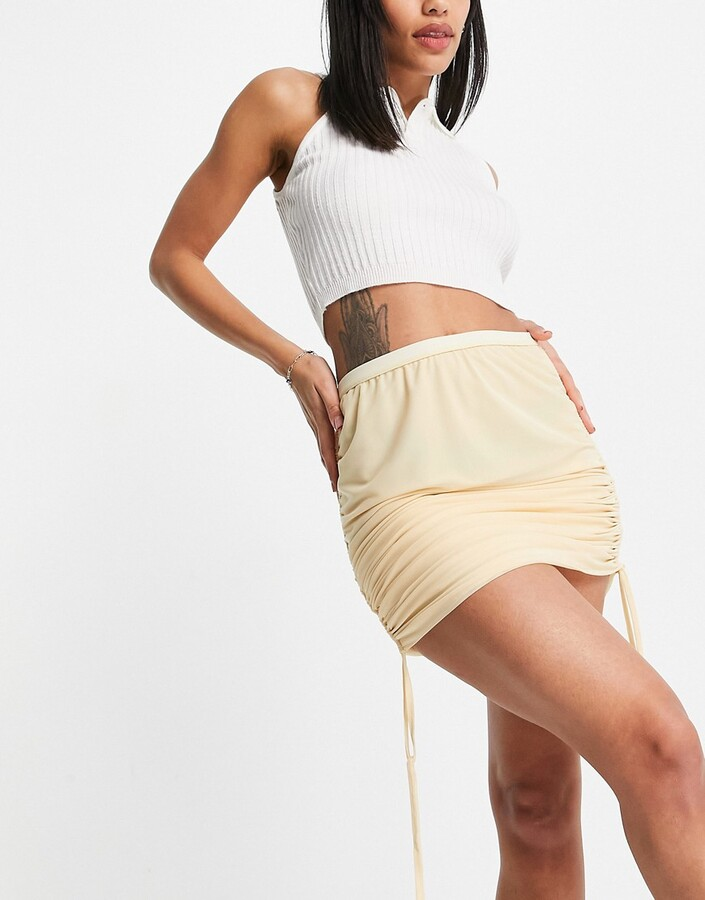 Thumbnail for your product : Weekday Vera exclusive mini skirt with ruche side detail in buttermilk co-ord