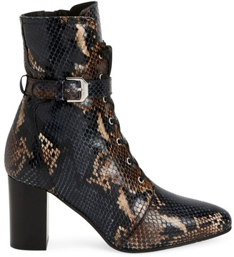 Aquatalia Fawne Snakeskin-Embossed Leather Ankle Boots