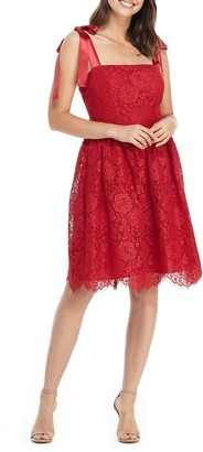 Gal Meets Glam Lucia Satin Strap Lace Dress