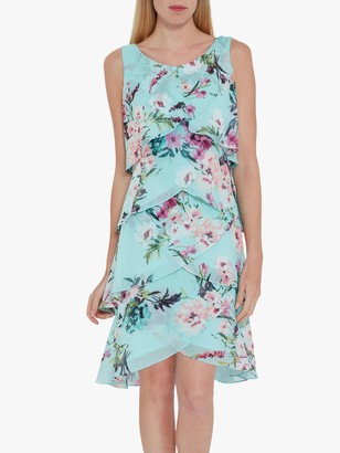Gina Bacconi Ondria Floral Tiered Chiffon Dress, Aqua