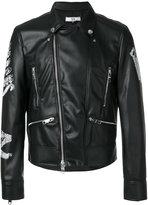 Versus logo embroidery biker jacket - men - Acrylic/Polyester/Acetate/Wool - 48