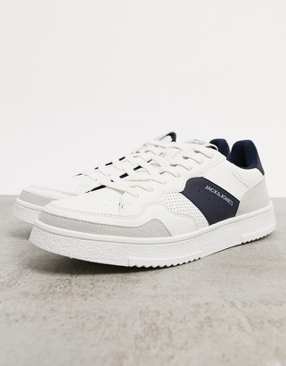 Jack and Jones trainer with side stripe in white and navy