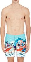 Orlebar Brown Men's Beach-Print Bulldog Swim Trunks-TURQUOISE