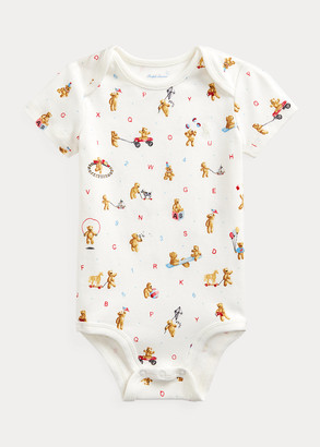Ralph Lauren Bear-Print Cotton Bodysuit