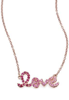 Sydney Evan Love Ombre Ruby, Multicolor Sapphire & 14K Rose Gold Pendant Necklace