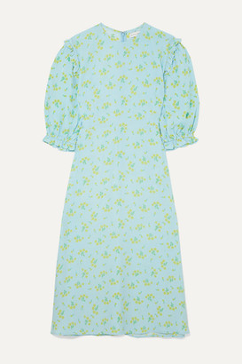 Faithfull The Brand Jean-marie Ruffle-trimmed Floral-print Crepe Midi Dress - Sky blue