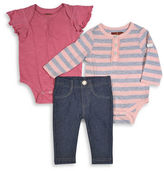 7 For All Mankind Three-Piece Short Sleeve Bodysuit, Long Sleeve Bodysuit and Jeggings Set