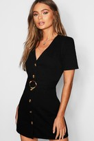 boohoo Mock Horn Button Belted Denim Dress