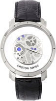 Croton Mens Black And Silver Tone Stainless Steel Automatic Strap Watch Cn307546Bssl